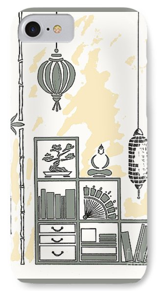 Lamps, Books, Bamboo -- Neutrals IPhone Case by Jayne Somogy