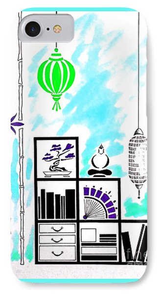Lamps, Books, Bamboo -- Turquoise IPhone Case by Jayne Somogy