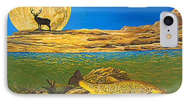 Landscape Art Fish Art Brown Trout Timing Bull Elk Full Moon Nature Contemporary Modern Decor Phone Case by Baslee Troutman