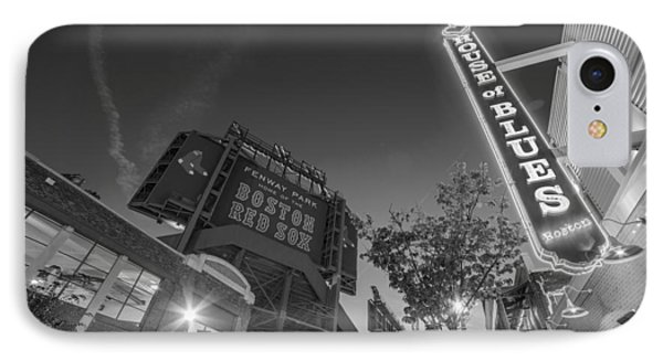 Lansdowne Street Fenway Park House Of Blues Boston Ma Black And White IPhone Case by Toby McGuire