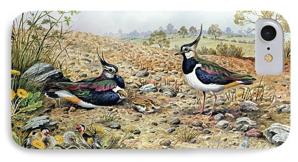Lapwing Family With Goldfinches IPhone Case by Carl Donner