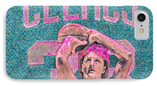 Larry Bird Boston Celtics Digital Painting Pink IPhone Case by David Haskett