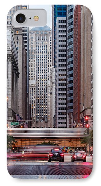 Lasalle Street Canyon With Chicago Board Of Trade Building At The South Side II - Chicago Illinois IPhone 7 Case by Silvio Ligutti