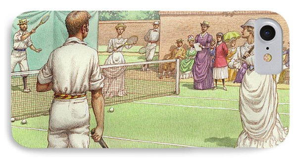 Lawn Tennis Being Played In The Victorian Age IPhone Case by Pat Nicolle