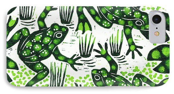 Leaping Frogs IPhone Case by Nat Morley