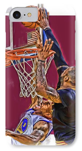 Lebron James Cleveland Cavaliers Oil Art IPhone 7 Case by Joe Hamilton