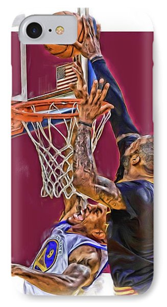 Lebron James Cleveland Cavaliers Oil Art IPhone Case by Joe Hamilton