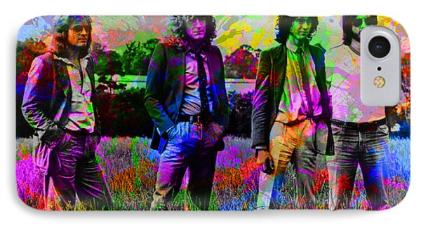 Led Zeppelin Band Portrait Paint Splatters Pop Art IPhone 7 Case by Design Turnpike