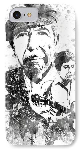 Leonard Cohen Black-white IPhone Case by Aged Pixel