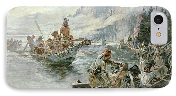 Lewis And Clark On The Lower Columbia River IPhone Case by Charles Marion Russell