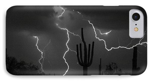 Lightning Storm Saguaro Fine Art Bw Photography Phone Case by James BO  Insogna