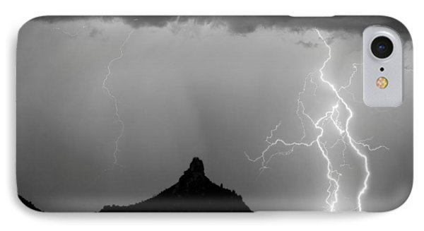 Lightning Thunderstorm At Pinnacle Peak Bw IPhone 7 Case by James BO  Insogna