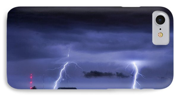 Lightning Thunderstorm July 12 2011 Two Strikes Over The City Phone Case by James BO  Insogna