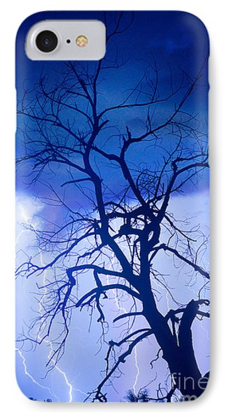 Lightning Tree Silhouette Portrait IPhone Case by James BO  Insogna