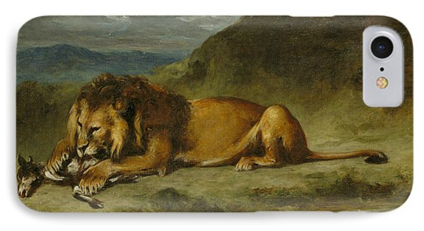 Lion Devouring A Goat IPhone Case by Eugene Delacroix