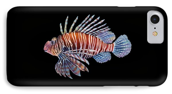 Lionfish In Black IPhone Case by Hailey E Herrera