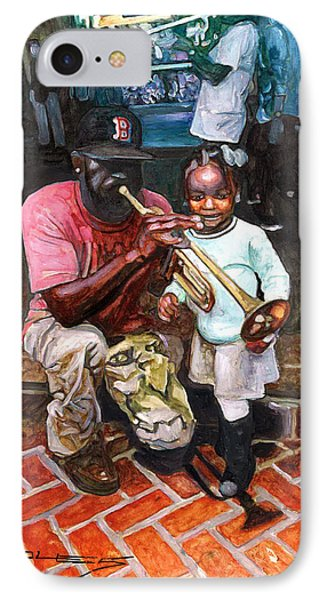 Little Girl With Trumpet Player On Bourbon IPhone Case by John Boles