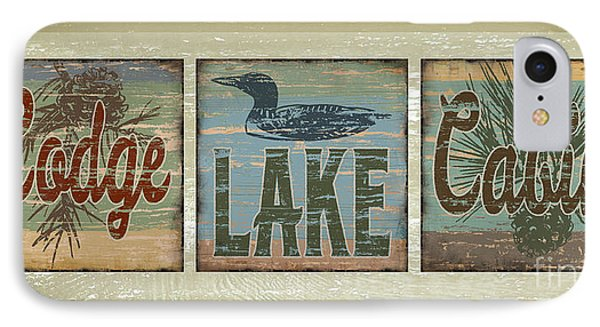 Lodge Lake Cabin Sign IPhone 7 Case by Joe Low