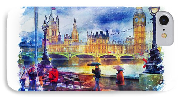 London Rain Watercolor IPhone Case by Marian Voicu