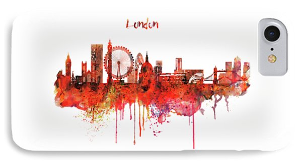 London Skyline Watercolor IPhone Case by Marian Voicu