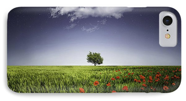 Lone Tree A Poppies Field IPhone Case by Bess Hamiti