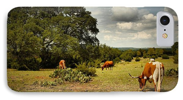 Longhorns Of Texas IPhone Case by Linda Unger