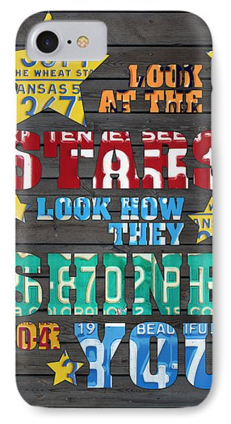 Look At The Stars Coldplay Yellow Inspired Typography Made Using Vintage Recycled License Plates IPhone 7 Case by Design Turnpike