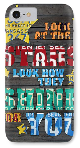 Look At The Stars Coldplay Yellow Inspired Typography Made Using Vintage Recycled License Plates IPhone Case by Design Turnpike