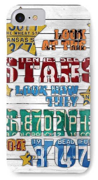 Look At The Stars Coldplay Yellow Inspired Typography Made Using Vintage Recycled License Plates V2 IPhone 7 Case by Design Turnpike