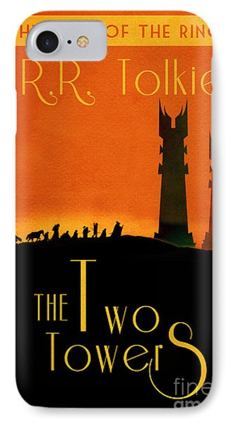 Lord Of The Rings The Two Towers Book Cover Movie Poster Art 1 IPhone Case by Nishanth Gopinathan