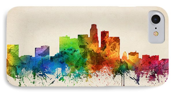 Los Angeles California Skyline 05 IPhone Case by Aged Pixel