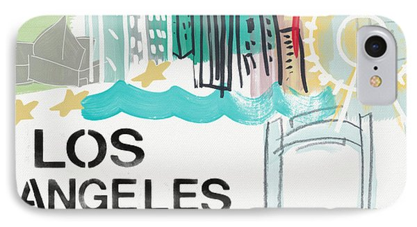 Los Angeles Cityscape- Art By Linda Woods IPhone 7 Case by Linda Woods