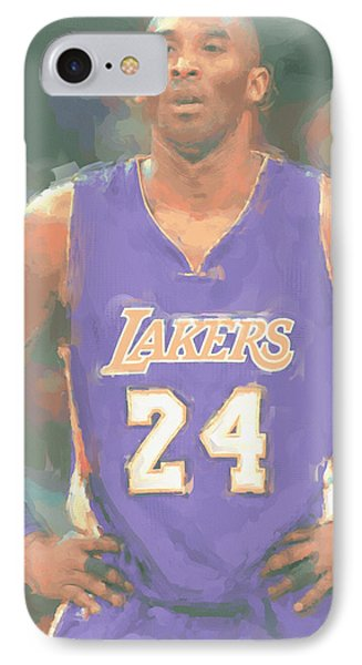 Los Angeles Lakers Kobe Bryant 2 IPhone Case by Joe Hamilton