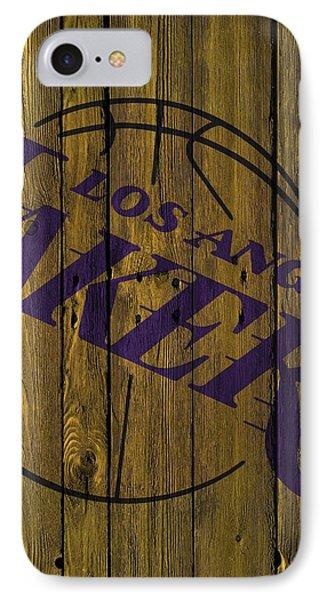 Los Angeles Lakers Wood Fence IPhone Case by Joe Hamilton