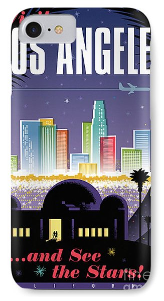 Los Angeles Retro Travel Poster IPhone Case by Jim Zahniser