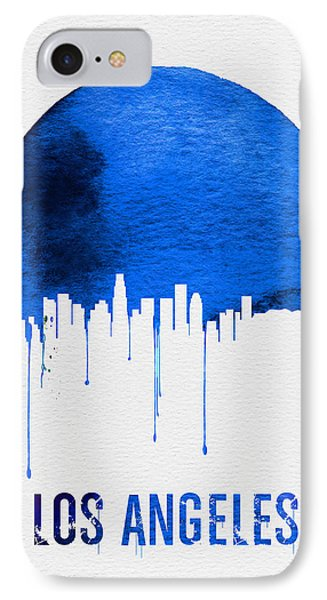 Los Angeles Skyline Blue IPhone Case by Naxart Studio