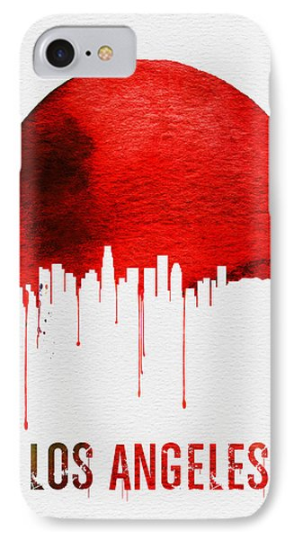 Los Angeles Skyline Red IPhone Case by Naxart Studio