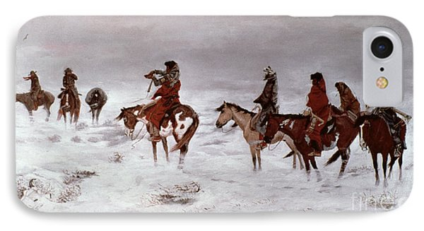 'lost In A Snow Storm - We Are Friends' IPhone Case by Charles Marion Russell