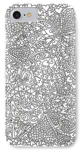 Love And Chrysanthemum Filled Hearts Vertical IPhone 7 Case by Tamara Kulish