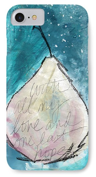 Love And Hope Pear- Art By Linda Woods IPhone Case by Linda Woods