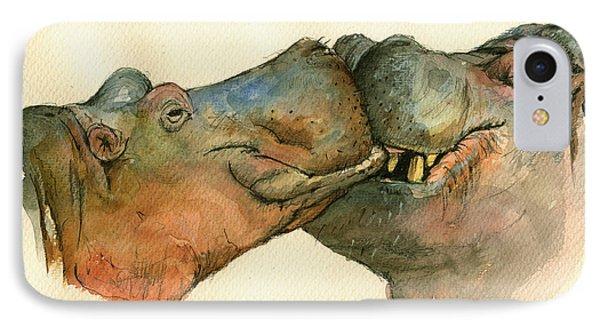 Love Between Hippos IPhone 7 Case by Juan  Bosco