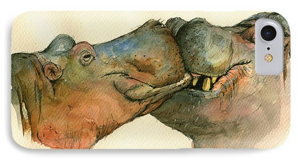 Love Between Hippos IPhone Case by Juan  Bosco