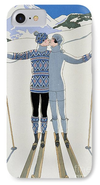 Lovers In The Snow IPhone Case by Georges Barbier