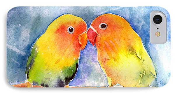 Lovey Dovey Lovebirds IPhone 7 Case by Arline Wagner