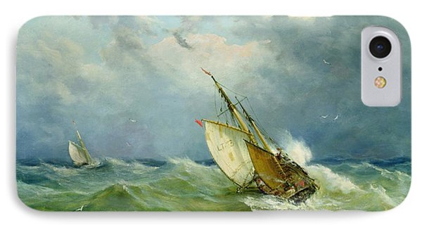 Lowestoft Trawler In Rough Weather IPhone Case by John Moore