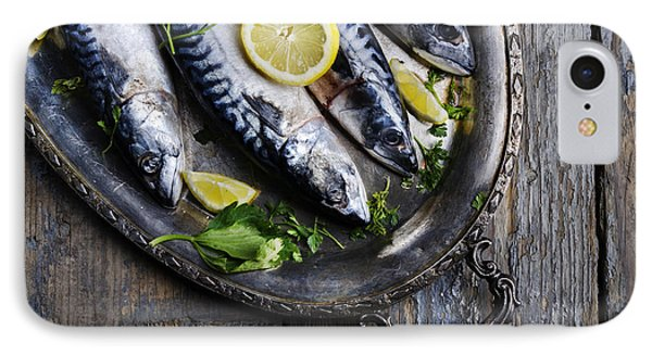 Mackerels On Silver Plate IPhone 7 Case by Jelena Jovanovic