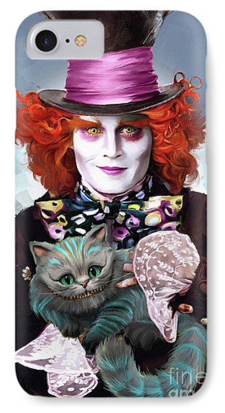 Mad Hatter And Cheshire Cat IPhone 7 Case by Melanie D