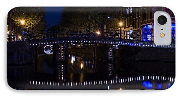 Magical Amsterdam Night - Blue White And Purple Lights Symmetry IPhone Case by Georgia Mizuleva