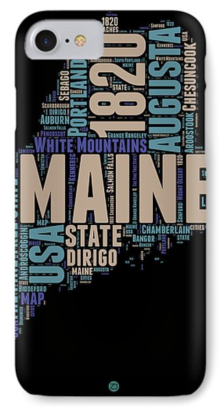 Maine Word Cloud 1 IPhone Case by Naxart Studio