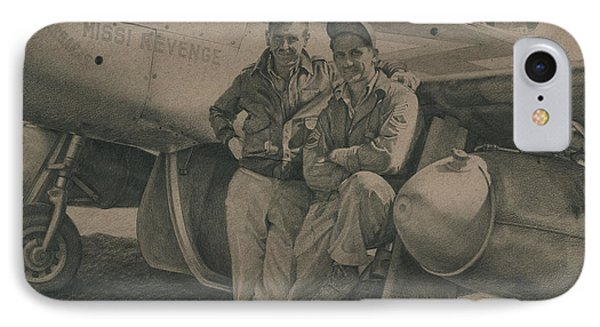 Major Edward Mccomas And Crew Chief 1944 IPhone Case by Wade Meyers